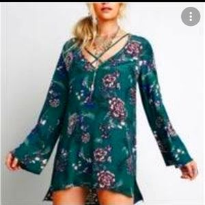 Free People Floral Long Sleeve Criss-cross Top